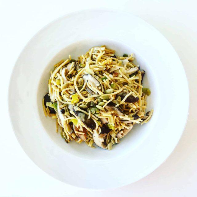 Shiitake and Leek Spaghetti