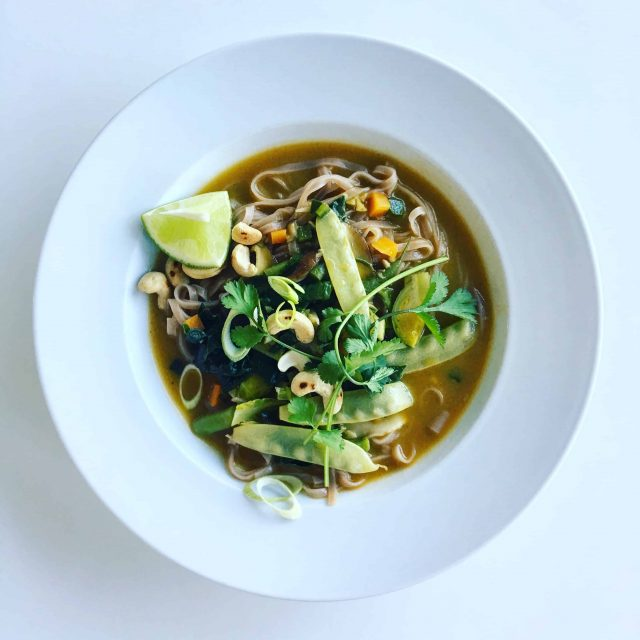 Asian-Inspired Soup with Pan-Seared Tofu and Brown Rice Noodles