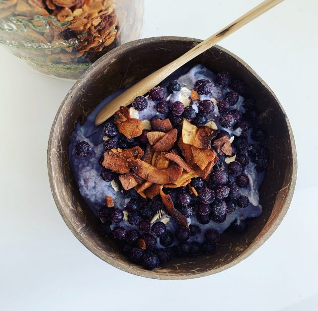Nicecream with Wild Blueberries and Coconut Bacon