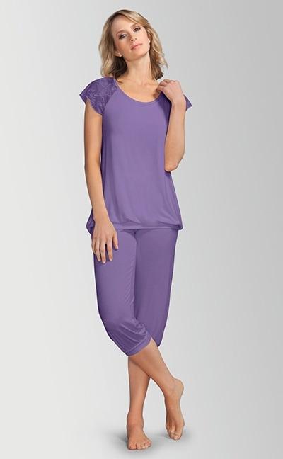 Pyjamas med capri bukser - lilla