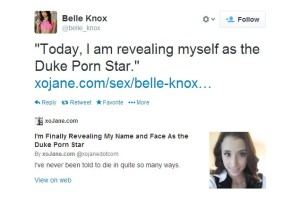 Belle Knox's Twitter page, where she advertised her first XOJane article