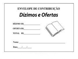 Envelope Para Dizimos e Ofertas na Cor Branca Com Fita