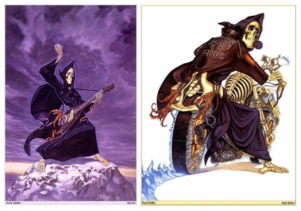 """Illustrations de Paul Kidy : elles représentent la Mort de Terry Pratchett dans le livre """"Accros du roc"""""""