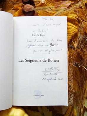 Dédicace du roman Les seigneurs de Bohen d'Estelle Faye