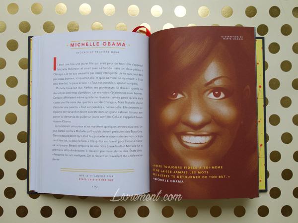 Livres histoires du soir pour filles rebelles portrait de Michelle Obama