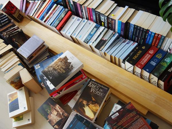 Bibliothèque déplacée et livres empilés