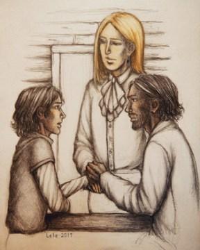 """Illustration de la rencontre entre Fitz, le Prince Devoir et le Fou qui se déroule dans le livre """"la secte maudite"""" de Robin Hobb"""