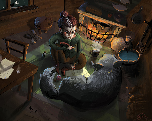 """Fan art illustré du duo Fitz et Oeil-de-Nuit pour le livre """"la secte maudite"""" de Robin Hobb"""