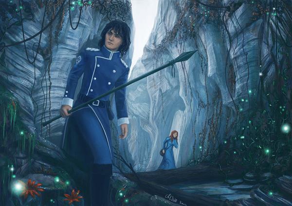 """Illustration de Kaladin et Shallan tombés dans le gouffre, roman """"Le livre des radieux"""" de Brandon Sanderson"""