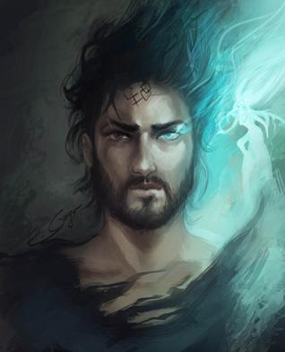 """Illustration du portrait de Kaladin en compagnie de Syl, roman """"Le livre des radieux"""" de Brandon Sanderson"""
