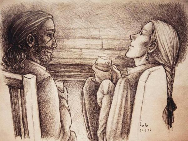 Le prophète blanc de Robin Hobb, retrouvailles entre Fitz et le Fou devant un feu de cheminée