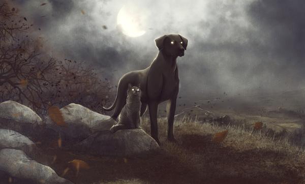 Le songe d'une nuit d'octobre de Roger Zelazny : fan art avec le chien Snuff et la chatte Graymalk