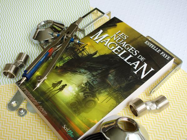 """Mise en scène du roman """"Les nuages de Magellan"""" d'Estelle Faye / Couleurs jaune, vert et trucs qui brillent"""