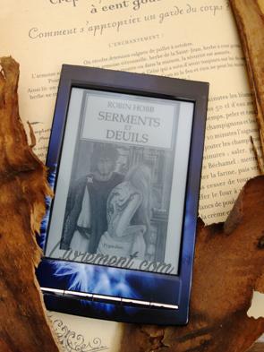 """Mise en scène du roman """"Serments et Deuils"""" de Robin Hobb : le livre est posé sur un livre de cuisine, une recette pour l'enchantement """"comment s'approprier un garde du corps"""" ?"""