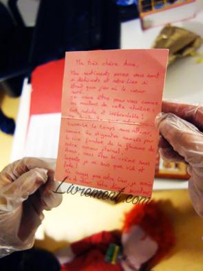 Lettre d'amour, indice pour la detective party lors de la nuit de la lecture 2019