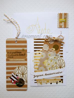 Carte confectionnée dans les tons dorés pour un anniversaire