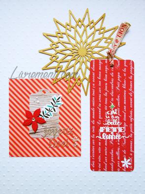 Courrier réalisé en scrap : carte et marque-page dans les tons rouges pour Noël