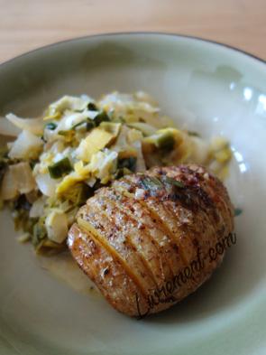 Patate et fondue de poireaux
