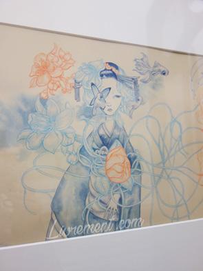 Exposition de Benjamin Lacombe à Canopé de Toulouse : détails d'une de ses oeuvres