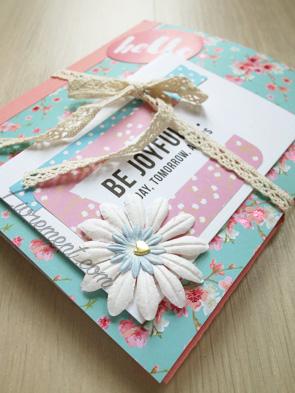 "Enveloppe ""Happy mail"" bleue et rose"