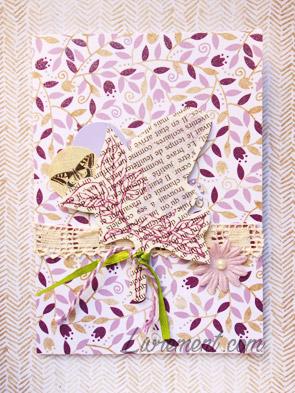 Carte scrapée lilas