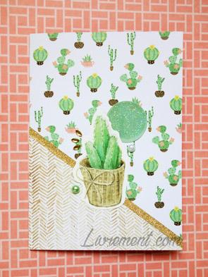 Carte scrapée rose cactus