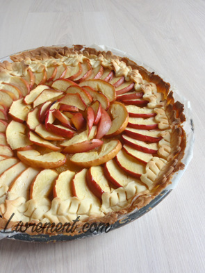 Photo d'une tarte à la pomme décorée