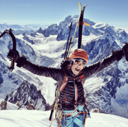 Happiness on the top of the Aiguille Verte, ready to ski down the Whymper couloir ©Boris_Dufour