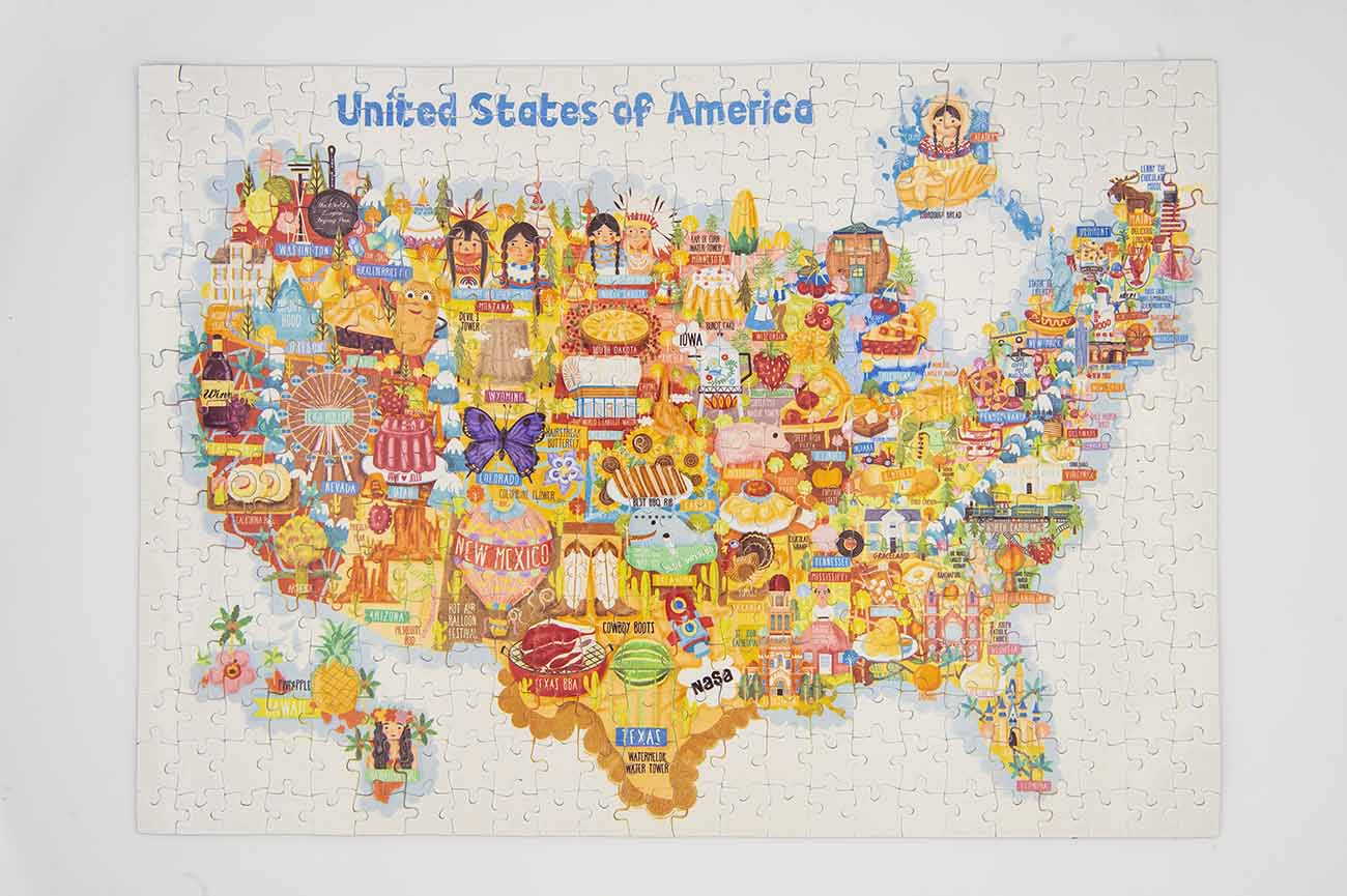 This usamap puzzle is a great app for anyone to learn the usa states, the location of each state , the english pronunciation of all the states, it is perfect for kids and even adults !! Usa Map Jigsaw Puzzle 300 Pieces Premium Hand Made
