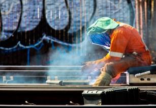 Maintenance work along the light rail.