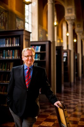 Dr. Steve Kay, formerly dean of USC's Dornsife School, photographed inside the schools's Hoose Library of Philosophy.