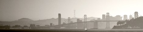 The San Francisco Bay Bridge, viewed from the Oakland Port.