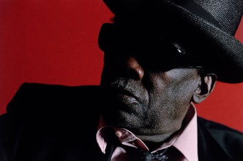 Portrait of John Lee Hooker in a Hollywood recording studio in 1989.