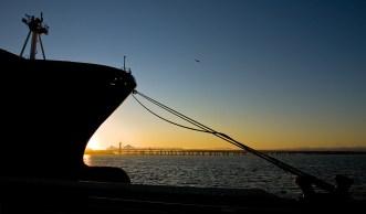 The Oakland Port, looking north, toward the Richmond-San Rafael Bridge.