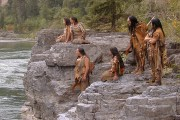 American Indian actors watching Lewis & Clark going down the river beneath.