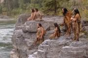 American Indian actors watching Lewis & Clark going down the river beneath.