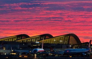 The LAX Bradley Terminal at sunset.