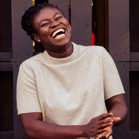Ghanaian Christine Afro African woman Melbourne Fitzroy portrait photography happy smiling