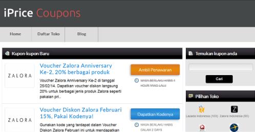 Di situs iprice.co.id kita bisa menukarkan kode kupon atau voucher yang diberikan oleh toko-toko online berkualitas seperti Zalora