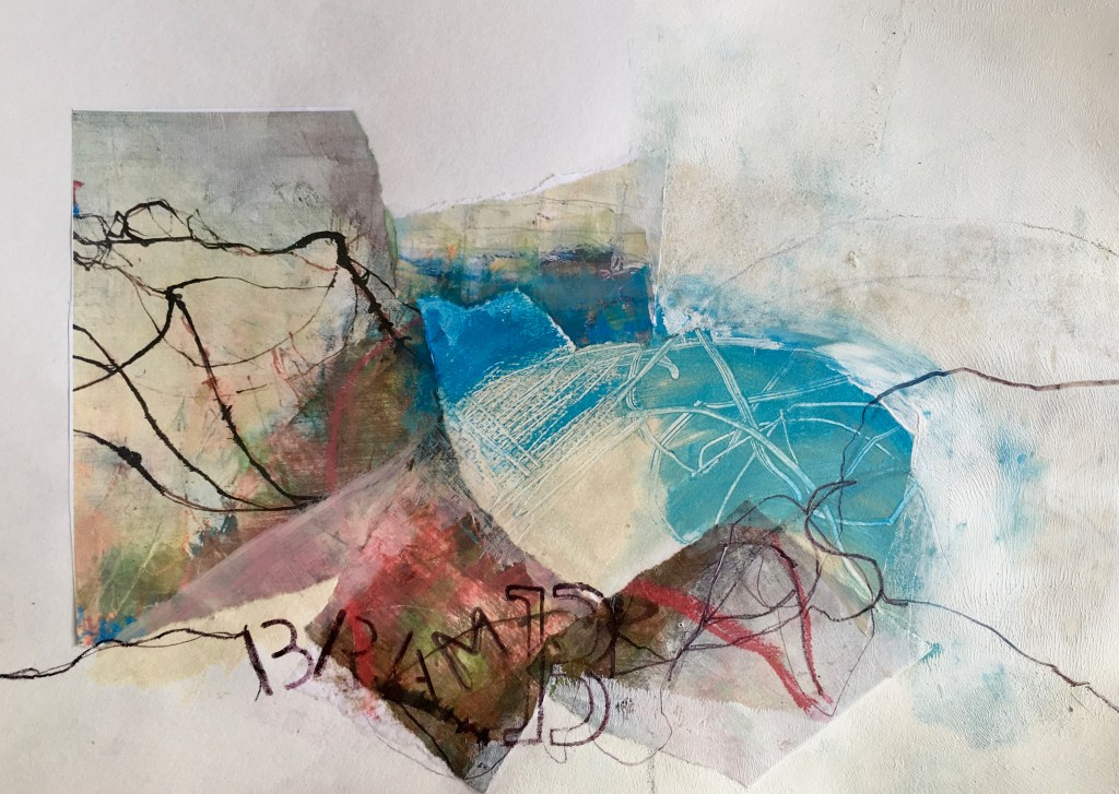 Abstract Mixed media collage Brambles