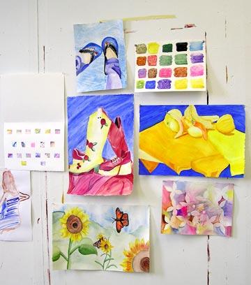 Castleton Watercolor final critique- a beginning  student's work.