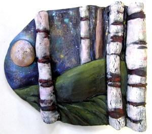 "Ceramic wall art fired clay, acrylic paint 6"" x 9"" © liza myers $125"