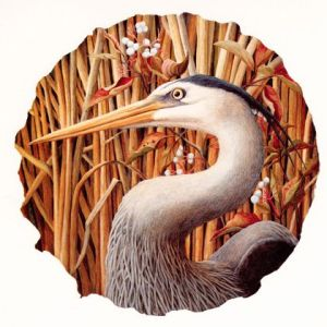 Heron with Red Osier Dogwood by liza myers Archival reproduction from original watercolor is available.
