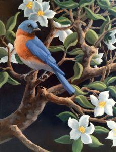 "Bluebird, acrylic on canvas, 14"" x 11"" ©lizamyers"