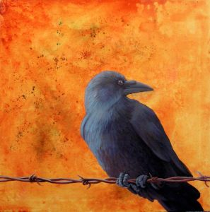 "Raven on Barb Wire, acrylic on canvas, 24"" x 24"""