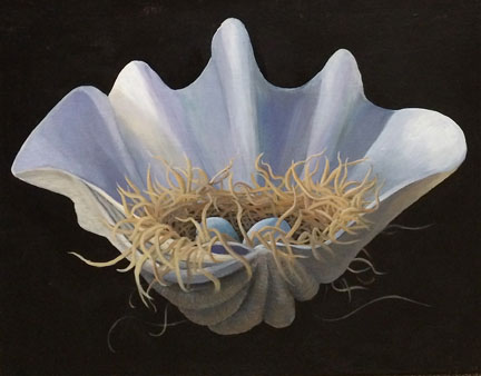 "Shell Nest I, acrylic on canvas, ©liza myers 16"" x 20"" $1350 Available through www.Lotusland.org"
