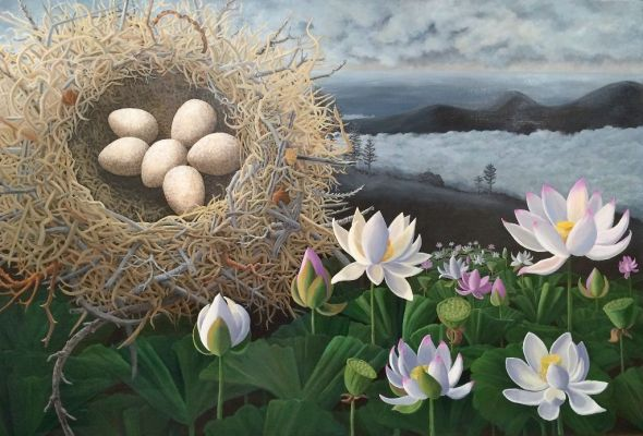 "Lotus Nest, acrylic on canvas, 40"" x 60"" ©lizamyers available through True West Gallery, Santa Fe, NM"
