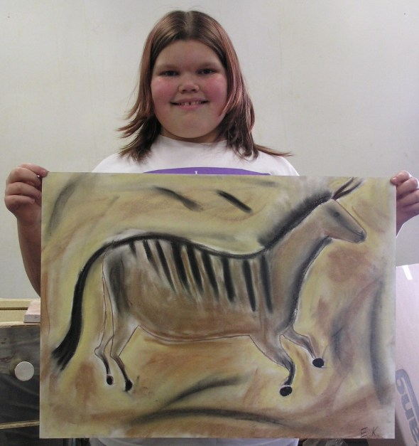 Pastel drawing of prehistoric horse! Inspired by cave paintings in France.