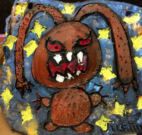 Pretty scary clay monster/bunny.