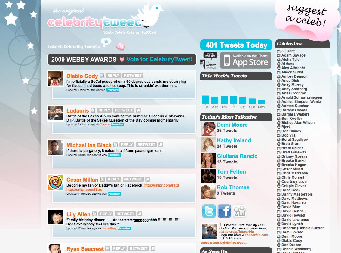 CelebrityTweet Homepage